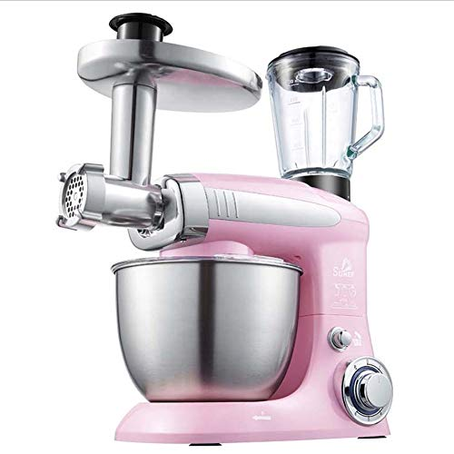 HM2 Standmixer, 4L Multifunktions-Elektro Mixer Teigknetmaschine Mit Entsafter Fleischwolf Nudel Für Wurstküche Küchenmaschine 220V,Rosa