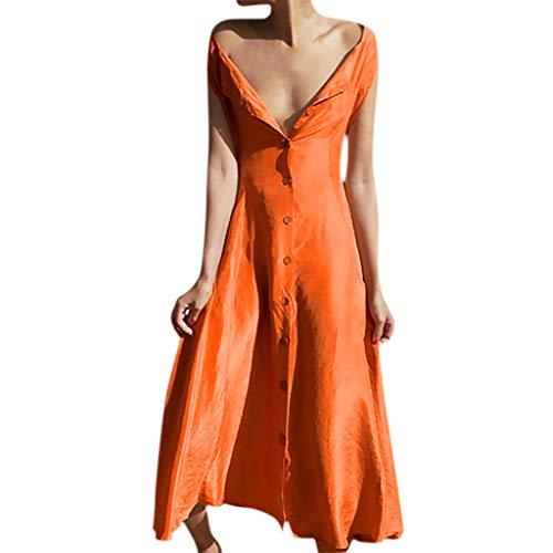 LUGOW Minikleid Damen Ärmellos Taste Sommerkleider Günstig Blusenkleid FreizeitKleider PartyBallkleid Sexy V-Ausschnitt LangKleiderCocktailkleider Strandkleid(Medium,Gelb)