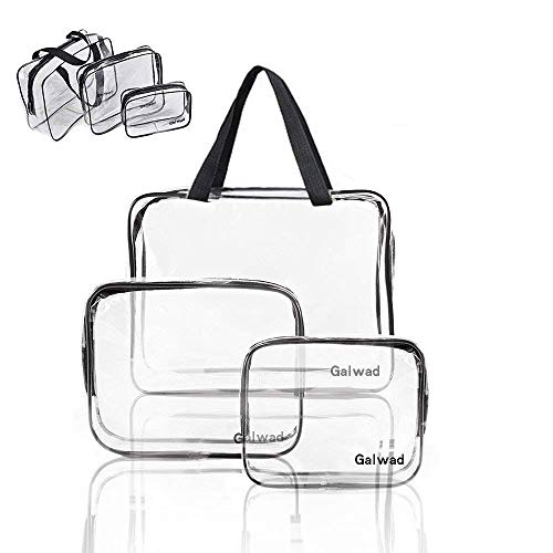 Lot de 3 étuis de transport transparents Galwad® en PVC à fermeture éclair sac de maquillage de voyage sac de toilette transparent (couleur transparent et noir)
