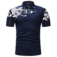 Yeirui Men T-Shirt Print Short Sleeve Casual Hipster Fitted Polo Shirt Dark Blue US L
