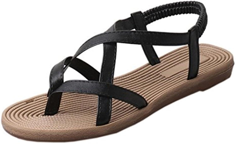 Sandalias Mujer, Manadlian Zapatos Planos de Mujer Vendaje Sandalias de Ocio Bohemia Peep-Toe Zapatos al Aire...