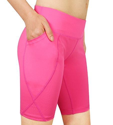 Cassiecy Damen Compression Sports Shorts Yoga Running Fitness Stretch Tights Kurze Hosen (XXL, Rosa) (Xxl-rosa-yoga-hosen Für Frauen)
