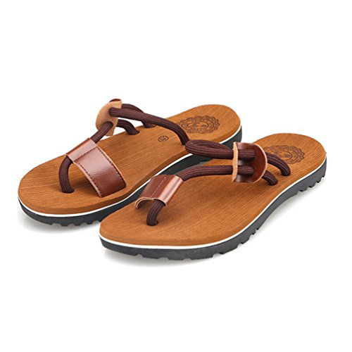CHENGYANG Herren Sommer Zehentrenner Schuhe Strand Sandalen Indoor Outdoor Slipper Pantoletten Flip Flop Khaki#1