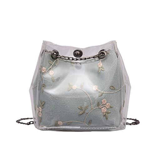 YCQUE Frauen Mini Bag Kleine Nette Doppelte wasserdichte Transparente Eimer Taschen Kette Tasche Totes Compound Weibliche Mini Bag Innen Reißverschluss Tasche Messenger Bags -
