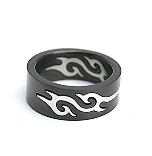 Epinki Herren Ringe, Edelstahl Herrenring Feuerflamme Heiratsantrag Ring Herausnehmbar Bandring Schwarz 0.8cm Gr.65(20.7) -
