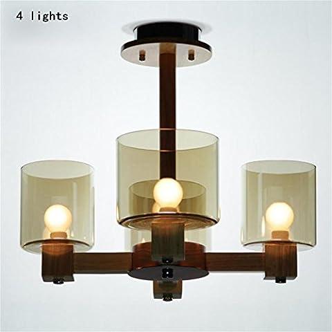 TaoMi-Nordic pastoral bois de verre ambré créatif minimaliste salon de la lampe de chambre lustre en cristal-4 lumière