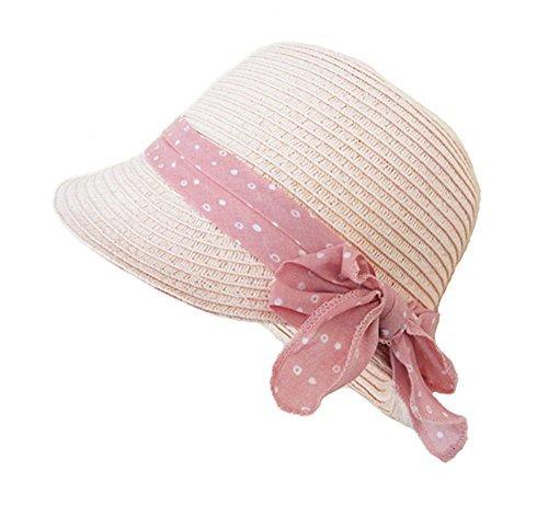 Sombrero Cloché Panamá Pamelas Paja Para Bebé Niñas Rosa Bowknot Viaje...