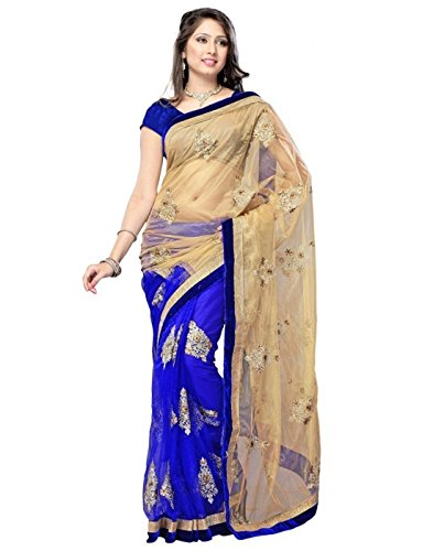 Surat Tex Blue & Beige Color Chiffon & Net Embroidered Party Wear Saree with Blouse Piece-G890SE11274NA  available at amazon for Rs.569