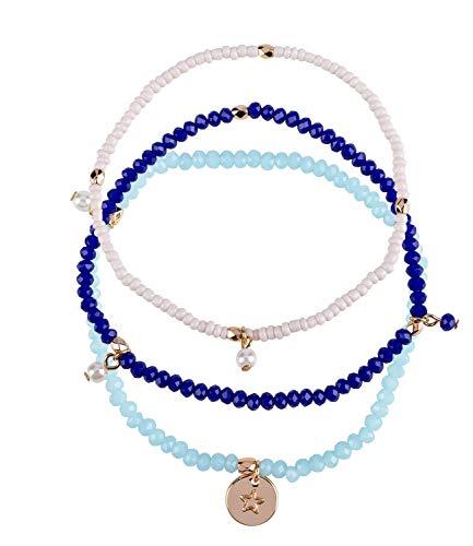 SIX Damen Armband, 3er Set Yoga Armbände in Rosa, Hellblau und Blau, mit kleinen Anhängern verziert, goldene Perlen, Kreisanhänger, flexibel (782-445)