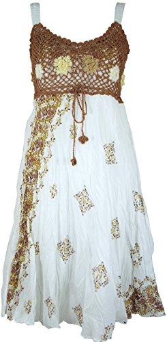 Guru-Shop Boho Minikleid, Sommerkleid, Krinkelkleid, Damen, Weiß/Cappuccino, Synthetisch, Size:38, Kurze Kleider Alternative Bekleidung - Stufenrock Kleid