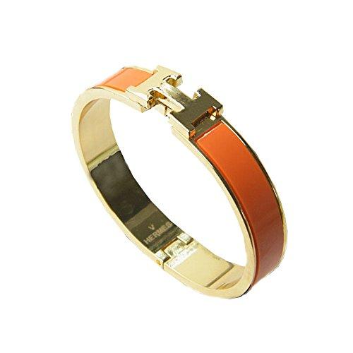 es Stilvolle Edelstahl antiallergische h-shaped Schnalle Armband Armreif–Gold + Schwarz, Orange, 18 mm (H Armband Armreif)