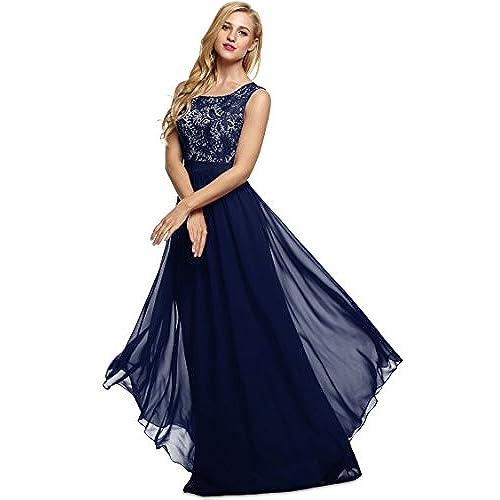 Abendkleider Lang Blau Elegant: Amazon.de