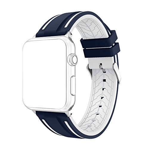 Price comparison product image For Apple Watch Strap 38mm AISPORTS iWatch Straps 38mm Soft Silicone Sport Replacement Strap with Stainless Steel Buckle Clasp Wrist Band for 38mm Apple Watch Series 3 / 2 / 1 Sport Edition - Blue / White