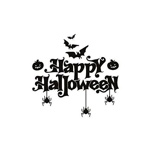 Goosuny Halloween Wandaufkleber Wandaufkleber Wandtattoo TV Wand Fenster Abziehbild Dekoration Wasserdichte Fenster Aufkleber Wanddekoration - Fledermäuse Spinne Kürbis (Schwarz)