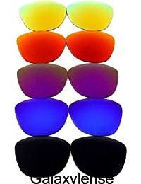 Galaxy lentes de repuesto para Oakley Frogskins negro y azul y púrpura y rojo y oro 5 Pares
