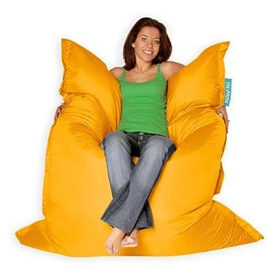 BAZAAR BAG ® - Giant Beanbag YELLOW - Indoor & Outdoor Bean Bag - MASSIVE 180x140cm - GREAT for Garden