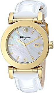 Salvatore Ferragamo Women's FP1990014 Salvatore Diamond-Accented Gold Ion-Plated Watch with Patent Leather