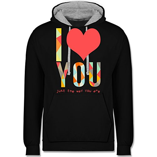 Romantisch - I love you just the way you are - Kontrast Hoodie Schwarz/Grau Meliert