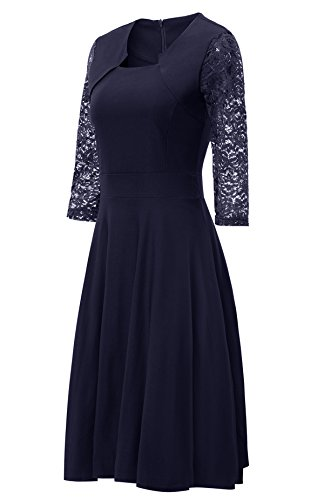 Gigileer Damen Kleider 3/4 Arm mit Spitzen Knielang Abendkleid Minikleid festlich Cocktail Party Navy M - 3