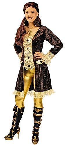 Piratin Kostüm Braun Gold für Damen Gr. 44 46 - Tolle Piraten Seeräuber Jacke für Frauen zu Karneval und Mottoparty