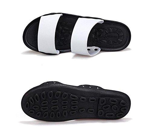 Männer Open Toe Sandalen Sommer Pantoffeln Anti-Rutsch Strand Schuhe Pool Schuhe Personalisierte Leder Schuhe Mode Outdoor Sandalen White