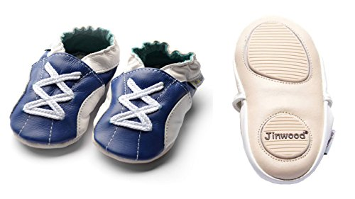 Jinwood designed by amsomo - Jungen - Maedchen - Hausschuhe - ECHT LEDER - Lederpuschen - Krabbelschuhe - soft sole / mini shoes div. Groeßen sport navy mini shoes