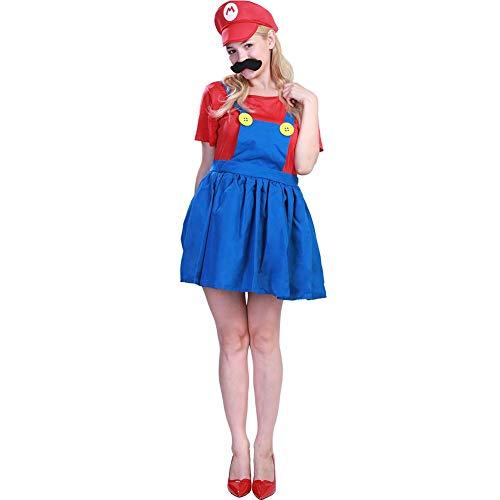 GLOBEAGLE Erwachsene Frauen Super Mario Rolle Spielen Cosplay Kostüm-Set Halloween Kleidung ()
