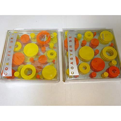 8er Set Glas-Untersetzer gelb/orange Retro Look 70er Jahre Bierdeckel Glasuntersetzerhitzebeständig