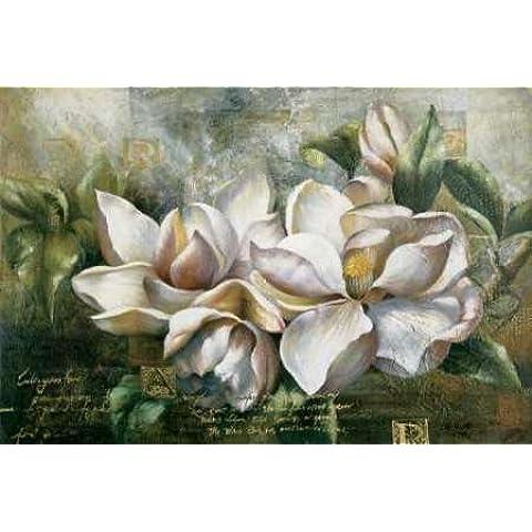 Pilar Magnolias por Meng - impresión de la bella arte disponibles sobre tela y papel, lona, SMALL (32 x 21.5 Inches )