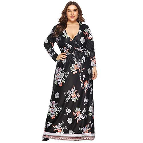 MAYOGO Sommerkleid Damen Lang Große Größen Blumen Langarm Maxikleid V-Ausschnitt Empire Waist Schnüren Casual Abschlussball Kleid Oversize ()