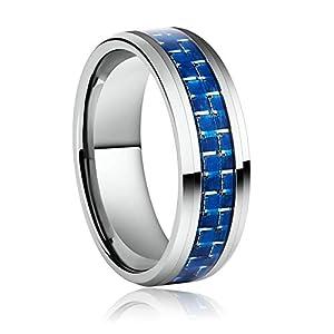 Aeici Gothic Ring Männer Silberblauer Ring mit Kohlefaser Ringe Herren Ringgröße 54 (17.2)-70 (22.3)