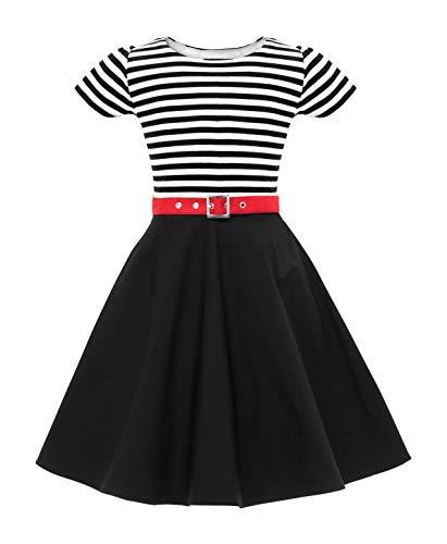 BlackButterfly Kinder \'Maria\' Vintage Gestreift Mädchen Kleid im 50er-J-Stil (Schwarz, 13-14 J / 158-164)
