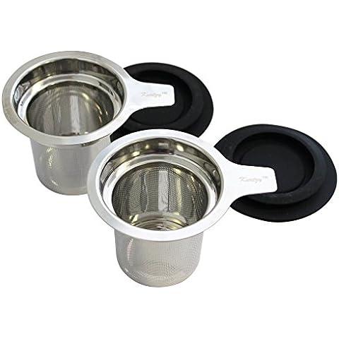 KurtzyTM Pack de 2 Infusores de Té a Granel Infusor para Taza Colador de Filtro Extra Fino Más Pronunciado en Acero Inoxidable