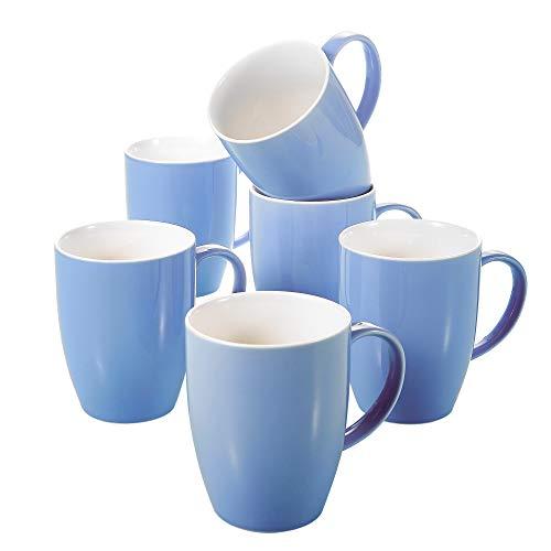 Panbado, Porzellan Kaffeepott 370 ml, 6 teilig Kaffeetassen, Becher Set, Blau + Weiß (Bunt Groß Becher Kaffee)