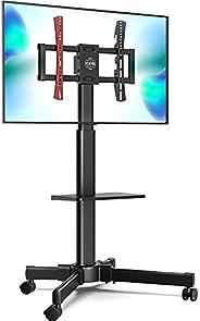 حامل تليفزيون متنقل من فيتوايز، مع رف لابتوب بعجلات للتلفزيون من اجل شاشة منحنية مسطحة ال سي دي بلازما بشاشة L