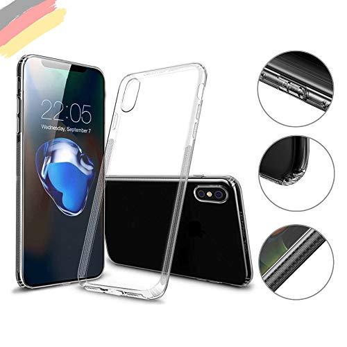 Hetcher Tech Premium Hülle iPhone X XS Transparent Durchsichtig - Viele Vorteile - Silikon Schutzhülle für Apple iPhone X und XS - Handyhülle Cover Case Bumper mit Staubschutz (Apple Iphone Bumper)