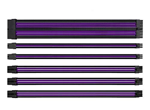 EASYDIY Sleeved Cable - Kabelverlängerung für Stromversorgung mit Combs 24 Pin 8PIN 6PIN 4 + 4 Pin mit Combs- Schwarz Lila