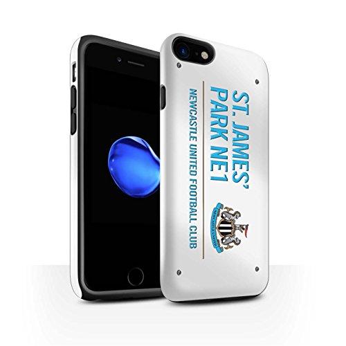 Offiziell Newcastle United FC Hülle / Glanz Harten Stoßfest Case für Apple iPhone 7 / Weiß/Schwarz Muster / St James Park Zeichen Kollektion Weiß/Blau