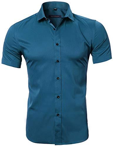 HARRMS Herren Hemd Kurzarm Slim Fit Bambusfaser für Anzug/Business/Hochzeit/Freizeit,Hemden Shirts für Männer,Blau,XL-43 EU
