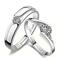 925 Sterling Silver Heart Shining Diamond Adjustable Open Couple Ring Set
