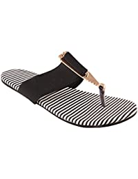 Red Choice Collection Black & White Striped Flat Slippers For Women And Girls (RC067)