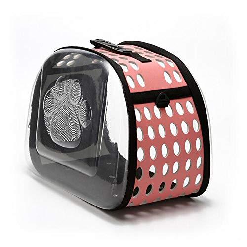 RROWER Tragbarer durchsichtiger Katzen-und Hundelack Foldable Dog/Cats/Rabbits Carrier Rucksack, Breathable Pet Kennel for Outdoor Travelling (Black)