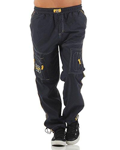 SUCCESS Kinder Jungen Cargo Hose Casual Wear Knaben Chino Stoff Hose 5 Pocket Regular Fit Freizeithose (134, 6066-blau/gelb)