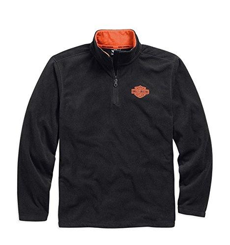 harley-davidson-1-4-zip-logo-fleece-black-orange-99001-15vm-herren-sweater-schwarz-s