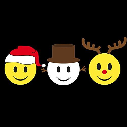 Fashionalarm Herren T-Shirt - Christmas Smileys | Fun Shirt als Geschenk Idee Weihnachten Heiligabend Nikolaus Schwarz