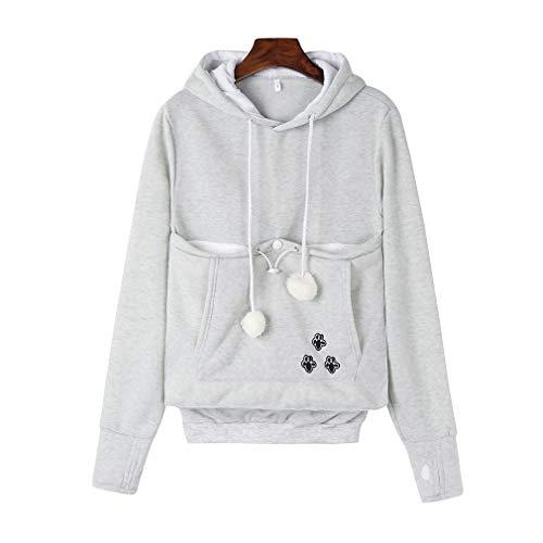 Damen Kapuzenpullover Sweatshirt - Juleya Herbst und Winter Long Sleeve Hoodie Pullover mit Katze / Hund Tasche , Farbe Grau , Gr.XL