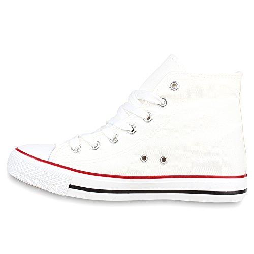 Damen Sneakers Kult Schuhe Schnürer High Top Sportschuhe Weiß