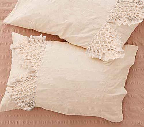 Flber Tufted Quaste Sham Set aus 2 Kissenbezügen aus Baumwolle, 47 x 74 cm -