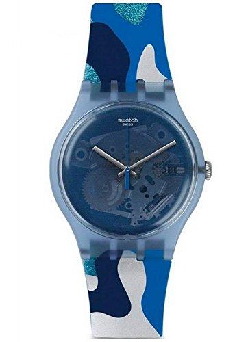 Swatch Herren Digital Quarz Uhr mit Silikon Armband SUOZ215