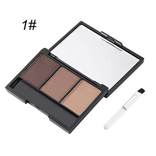 3 couleurs minérale palette de maquillage poudre de gâteau de sourcils imperméable à l'eau cosmétiques durables ensemble avec brosse